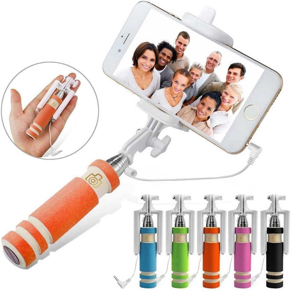 Orange Universal Adjustable Mini Selfie Camera Stick Pocket Sized Monopod Built-in Remote Shutter For Samsung Galaxy Tab 3 Kids I-Sonite