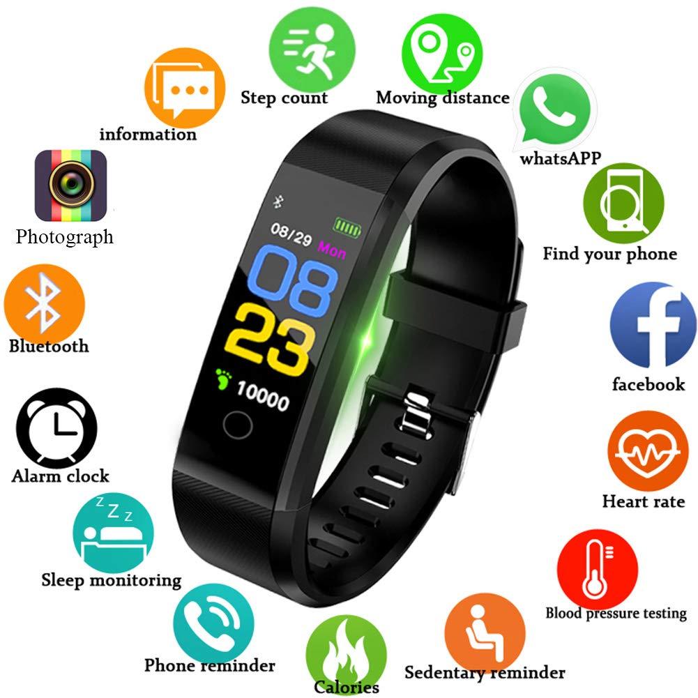 Lige Fitness Trackers, 0, 96 Zoll OLED Farbdisplay Touchscreen Aktivitä ts Tracker mit Pulsmesser Schlafmonitor IP67 Wasserdicht Outdoor Sportarten Smart Armband fü r iOS & Android Bluetooth Verbindung