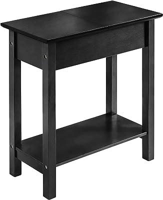 2L Lifestyle Denver Flip Top Console End Table, Small, Black