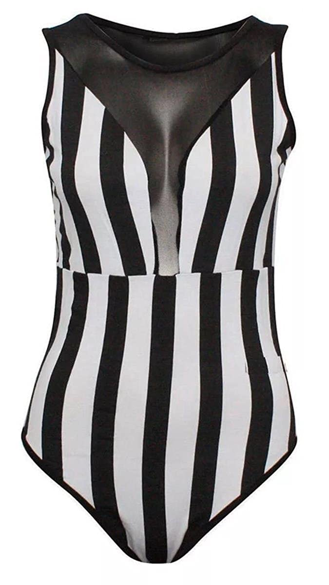 7633d39030 Girl Talk Clothing Womens Black White Striped Sleeveless Mesh Bodysuit  Leotard at Amazon Women s Clothing store