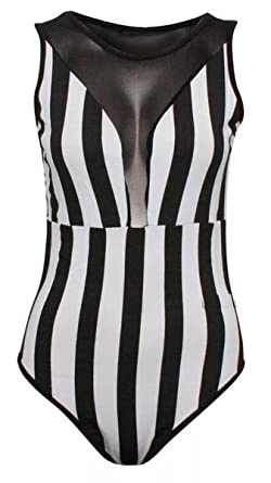 Girl Talk Clothing Womens Black White Striped Sleeveless Mesh Bodysuit  Leotard at Amazon Women s Clothing store  2b00d35fe