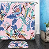 Vanfan Bathroom 2?Suits 1 Shower Curtains & ?1 Floor Mats india seamless paisley pattern retro stylized wallpaper decoration wrapping print floral 437920633 From Bath room