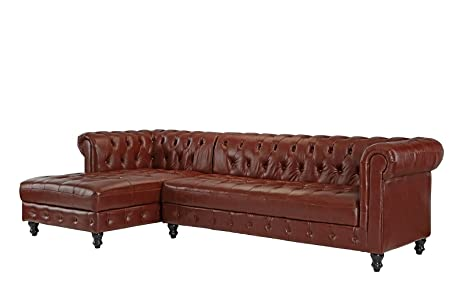 Amazon.com: Divano Roma Furniture Classic - Sofá de piel ...