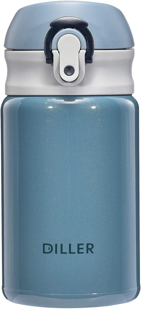 Diller Thermos Water Bottle - 10 Oz Mini Insulated Stainless Steel Bottle, Leakproof Cute Vacuum Flask, Perfect for Purse or Kids Lunch Bag, 12 Hours Hot & 24 Hours Cold (Blue, 10 oz)