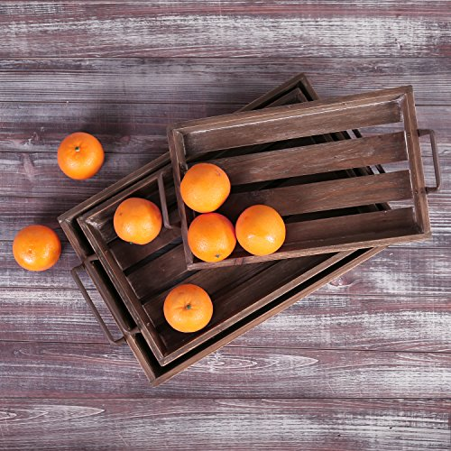 Distressed Wood Slat Nesting Breakfast Serving Trays w/ Antique-Style Metal Handles, Set of 3, Brown by MyGift (Image #2)