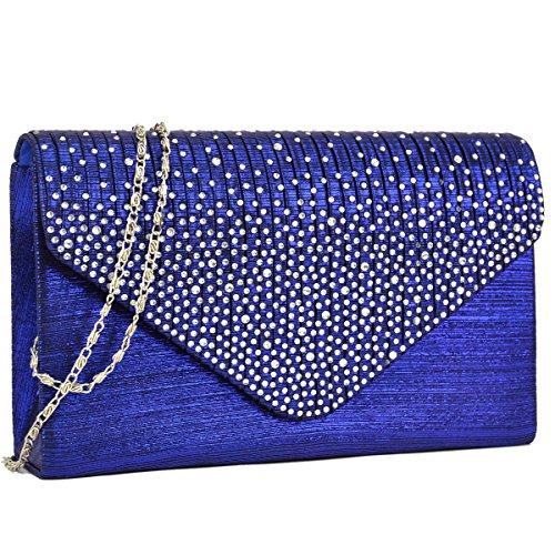 Dasein Ladies Frosted Satin Evening Clutch Purse Bag Crossbody Handbags Party Prom Wedding Envelope (Blue)