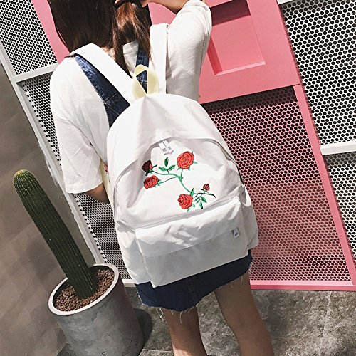 Bluelans Double Backpack Bag Women Canvas Rose White Students Flower Travel Shoulder Embroidery AAZdgxqvwr