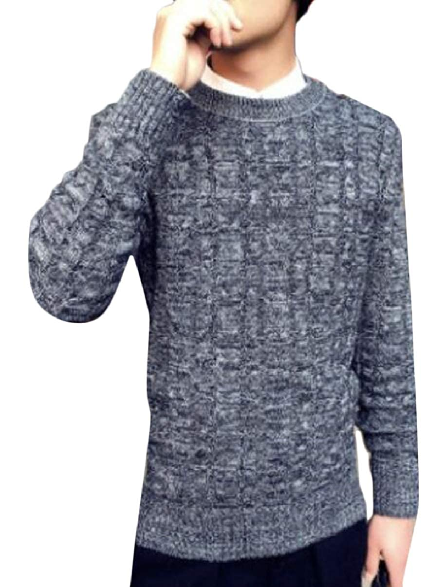 YIhujiuben Mens Slim Knit Long Sleeve Crew Neck Pullover Sweater