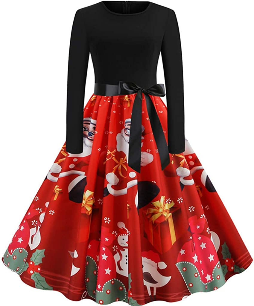 Women's Christmas Vintage Santa Print Party Dress Long Sleeve A-Line Style Ball Gowns Dress, Slim Swing V-Neck Dress Cocktail Swing Party Dress for Evening Party Red
