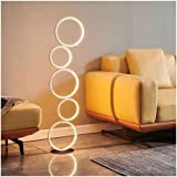 Floor Lamp LED Modern Minimalist Black and White Vertical Circle Lighting (Color : A, Size : Stepless dimming)