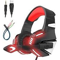 Mengshen Auriculares para Juegos - con Micrófono, Aislamiento de Ruido, Control de Volumen, Luz LED - para PS4 / Xbox…