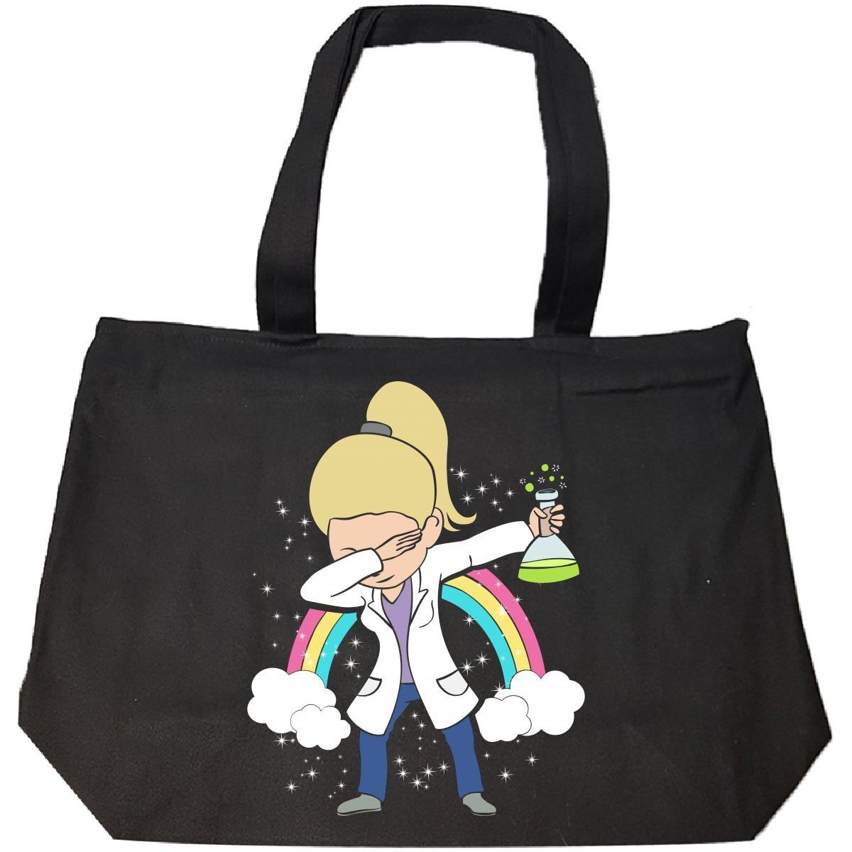 Dabbing Mom Wearing Labcoat Scientist Blonde Hair Gift - Tote Bag With Zip