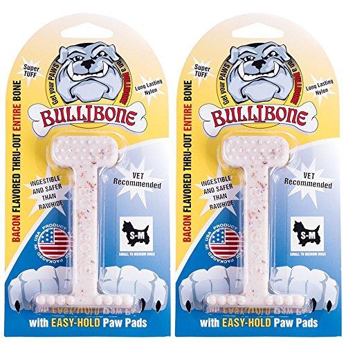 Bullibone Nylon Dog Chew Toy Small Nylon Bone - Improves Dental Hygiene, Easy to Grip Bottom, and Permeated with Flavor (2-Pack, Bacon)