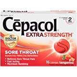 Cepacol Extra Strength Lozenges with Benzocaine & Menthol, Sore Throat, Sore Mouth, Pain Relief, Tangerine Cough Drops…