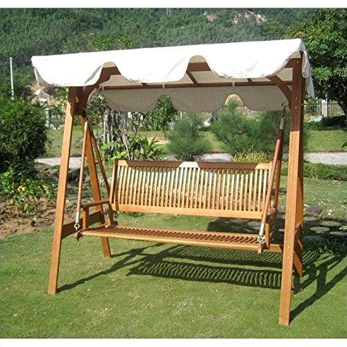 International Caravan SW-006-3-AF-CP-IC Furniture Piece Royal Tahiti 3 Seater Swing with a-Frame and Canopy