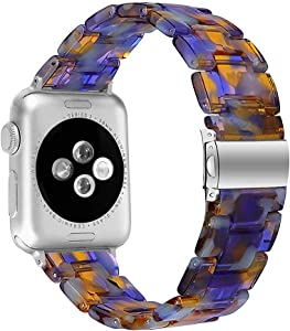 MEFEO Compatible with Apple Watch Band 38mm 40mm 42mm 44mm, Stylish Resin Bands Bracelet Replacement for iWatch Series 6 Series 5/4/3/2/1 & iWatch SE Women Men (Ocean Blue, 38mm/40mm)