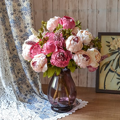 Situmi Artificial Fake Flowers Peony Antique Vase Home Decoration
