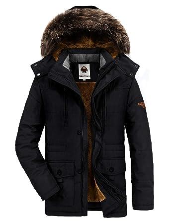 cheaper 7c9c7 0670e Warme Winterjacke Herren mit Kapuze Outdoor Gefüttert Baumwolle Jacke  Männer Dicker Wintermantel Parka Jacke (X-Large, 03-Schwarz)