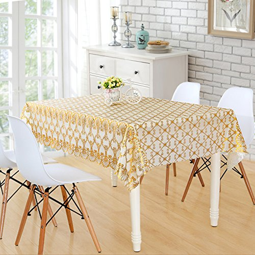 XKQWAN Bronzing European-style Coffee Table Cloth Waterproof Burn-proof Oil-proof Disposable Rectangle Pvc Soft Glass Table-Cloth-A 2424in