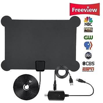 Antena HDTV, Antena de TV Amplificada para Interiores Alcance de 50 Millas con amplificador ajustable