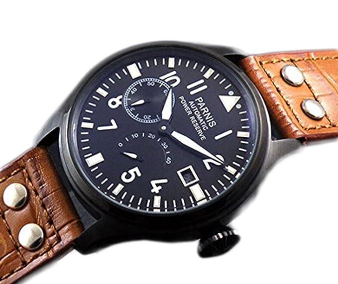 PARNIS Militar del ejército de los hombres reloj automático movimiento Seagull ST25 Potencia reserva energía pantalla: Amazon.es: Relojes
