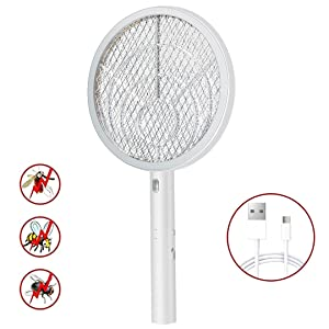 Teniswatter Electric Bug Zapper Racket,Mosquito Swatter,Fruit Fly Killer,Pest Insects Control,USB Charging,Bright LED Light w/Base,Double Layers Mesh Safety Protection Safe to Touch, White