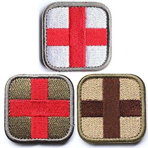Velcro Cross - Bundle 3 Pieces - Medic Cross Tactical Patch With Backing Multi-tan Red White Green Decorative Embroidered Appliques 2