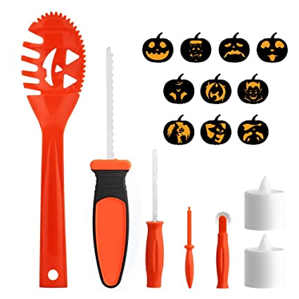 Amazon.com : Brizled Pumpkin Carving Kits, 5 Tools Kit, 10 Halloween ...