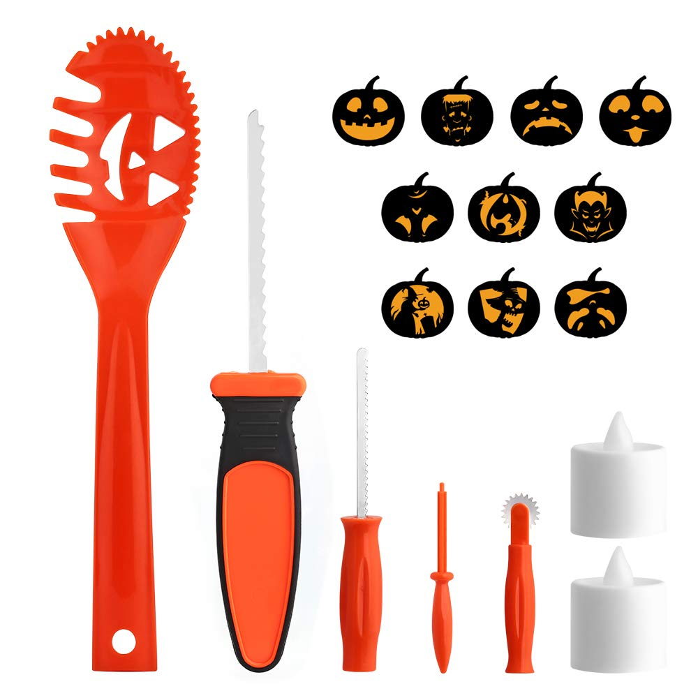 Brizled Pumpkin Carving Kits, 5 Tools Kit, 10 Halloween Style Carving Templates & 2 LED Candles for Halloween Pumpkin Lights, Easily DIY Halloween Pumpkin Jack-O-Lantern Decoration for Family Activity