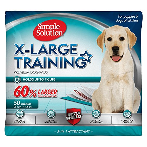 Simple Solution Dog Training and Puppy Pads, Extra Large - 50-Count, Absorbs Up to 6 Cups of Liquid
