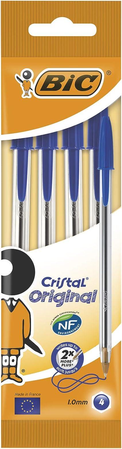 BiC Cristal medium - Bolígrafo de punta redonda, color azul, pack de 4 unidades: Amazon.es: Oficina y papelería