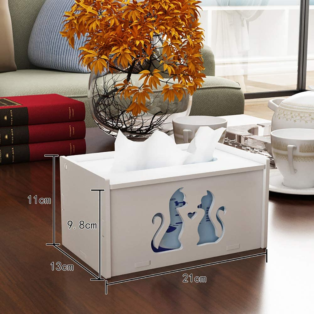 aoory Bo/îte /à mouchoirs rectangulaire Moderne avec Support pour Papier Toilette Motif Chat Blanc