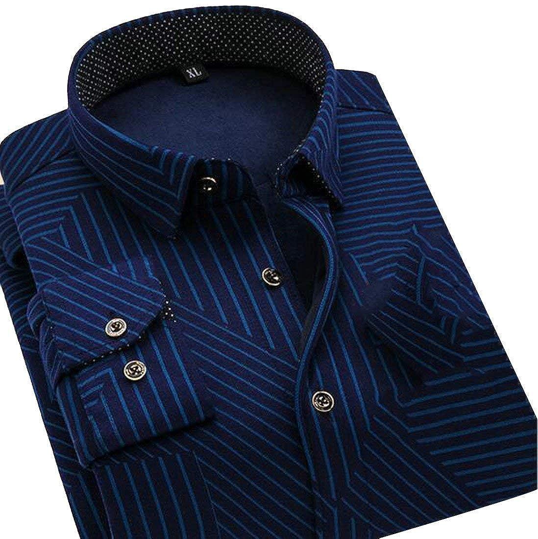 SELX Men Plus Size Plus Size Autumn Thicken Long Sleeve Button Front Fleece Lined Shirts