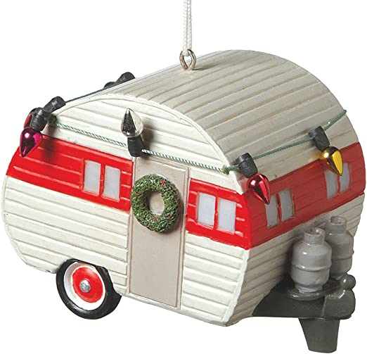 Silver Camper Trailer RV Recreational Vehicle Camping Ornament Midwest-CBK