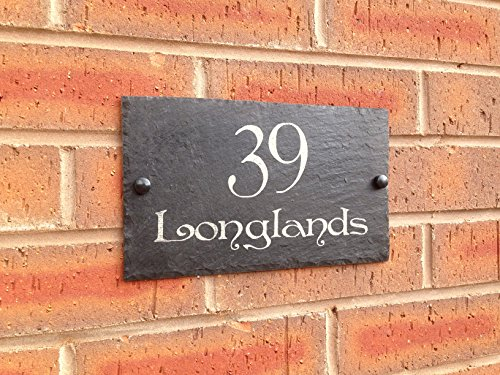 Slate House Sign Name Number Door House Sign 25x15cms (Free postage)