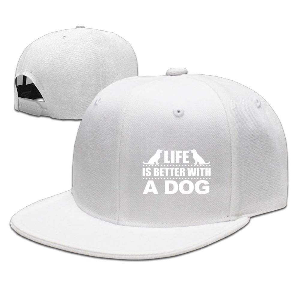 Life is Better with A Dog Adjustable Washed Cap Baseball Hat