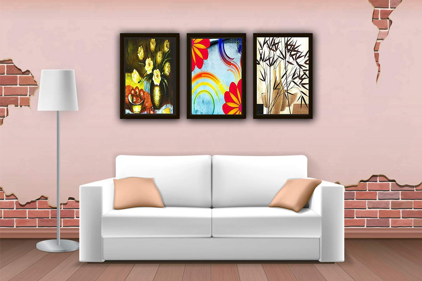 Go Hooked Digital Printed Wall Art Frame Painting Stylish Wood Frame Wall Decor Painting For For Living Room Bedroom Kitchen Office Hotel Dining Room Set Of 3 8x12 Inch Amazon In Home