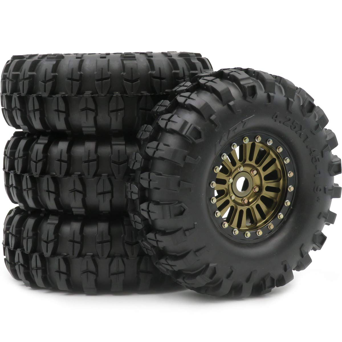 5pc RC 1.9 Crawler Off Road Tires 108mm /& Wheels rims Hex 12mm For RC4WD Axial