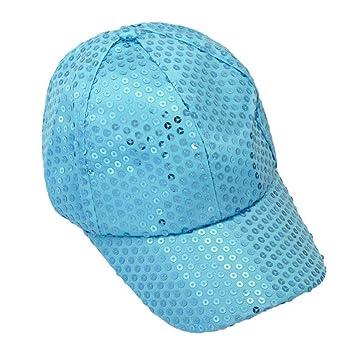 Xinantime Sombrero, Lentejuela Gorra De Beisbol Paño (Azul Claro ...