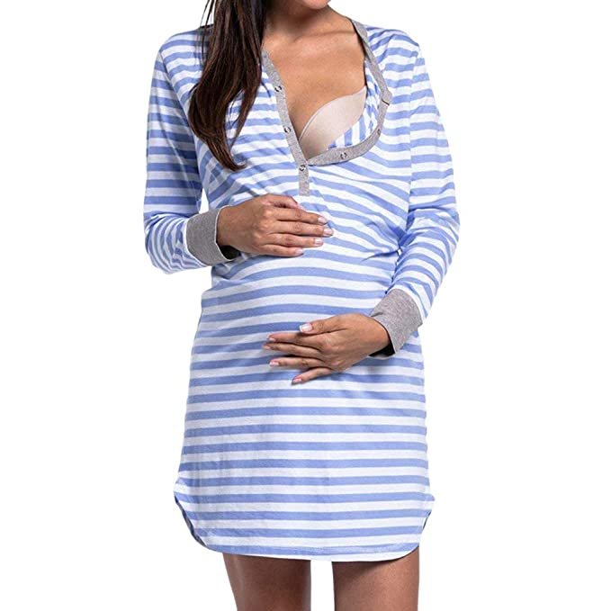 c9a28ccede7 Women s Long Sleeve Nursing Dress Striped Button-up Sleepwear Maternity  Dress for Breastfeeding (Blue