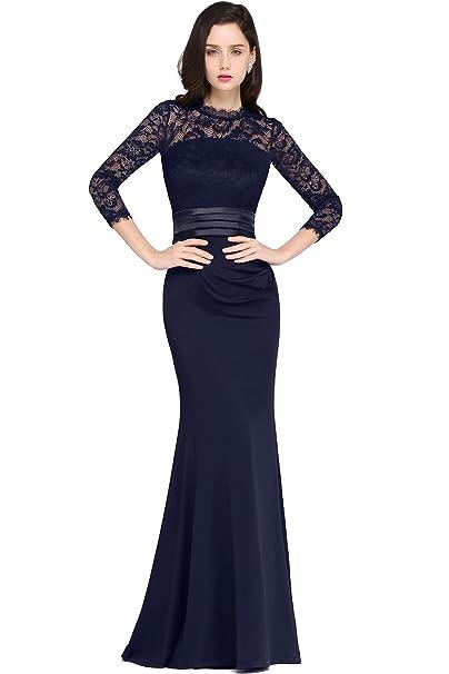 35aaa004fc47 Babyonlinedress Vestido largo de fiesta de noche y para bodas vestido de  encaje estilo elegante y A line cuello redondo manga larga y transparente  ...