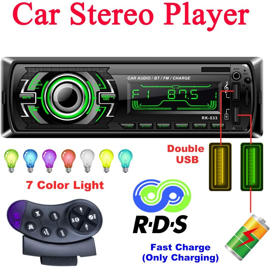 Bosszi Radio Coche Autoradio Bluetooth, 4 x 60 W 1 DIN FM Radio, con Manos Libres Bluetooth, Coche Reproductor de MP3 con Control Volante, Admite RDS/AUX/USB/SD