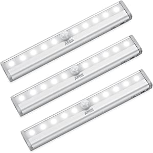 AMIR Motion Sensing Closet Lights, 3 Pack DIY Stick-on Anywhere Portable 10-LED Wireless Cabinet Night/Stairs/Step Light Bar with Magnetic Strip (White, Battery Operated)