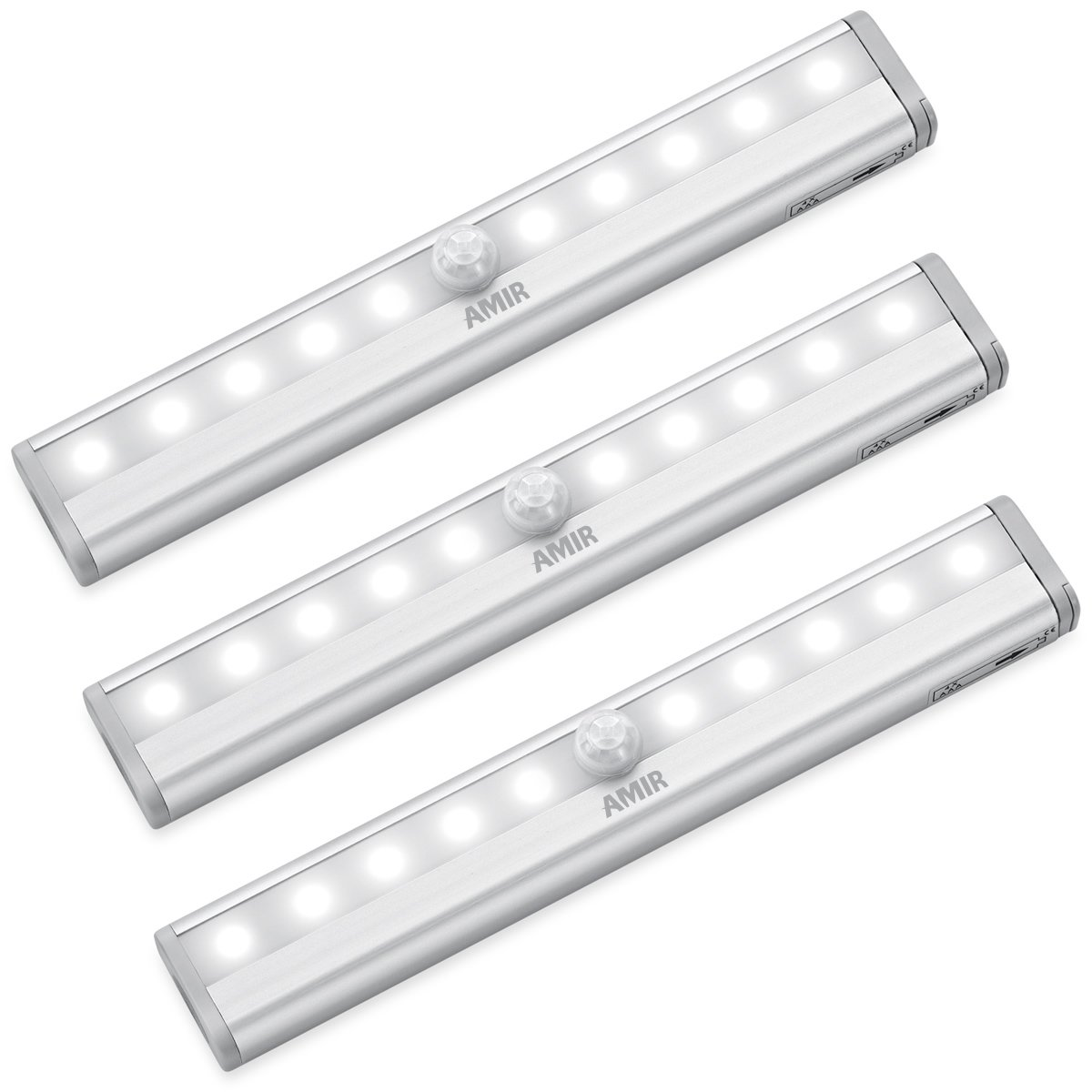 NEW VERSION AMIR Motion Sensor Lights, 10-LED DIY Stick-on Anywhere Battery Operated Portable Wireless Cabinet Night/Stairs/ Step/Closet Light Bar with Magnetic Strip (White, 3 Pack)