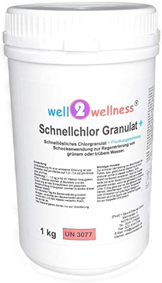 Well2wellness Cloro Rápido Granulado + (Granulado de Cloro Rápido Disolución 60% + Floculante) 1, 0 KG: Amazon.es: Jardín