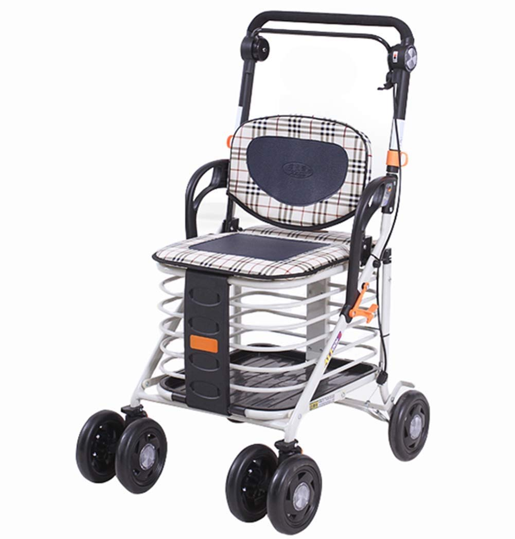 DNSJB Folding 4 Wheel Shopping Trolley with Rollator Walker Adjustable Height Lightweight Push Pull Shopping Cart Bag Luggage Grocery Trolley
