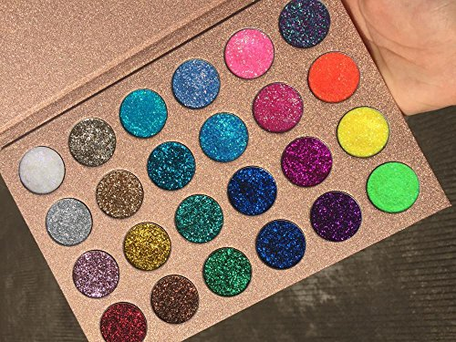 Pressed Glitter Eyeshadow Palette (24 Colors) - Highly Pigmented, Shimmery - Waterproof & Long-Lasting