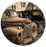 Cheap Sugar Vine Art VINTAGE RETRO CAR Clock Large 10.5″ Wall Clock Decorative Round Circle Clock Home Decor GARAGE CLOCK FOR HIM, RUSTIC DECOR