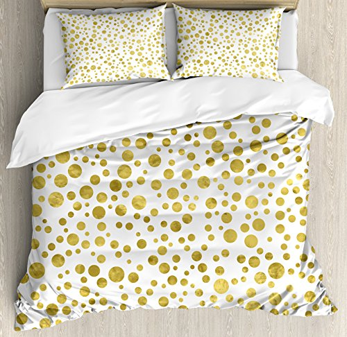 Polka Dots Duvet Cover Set by Ambesonne, Illustration of Golden Polka Dots Vintage Style Art Deco Pattern Bridal Decor, 3 Piece Bedding Set with Pillow Shams, Queen / Full, Gold White