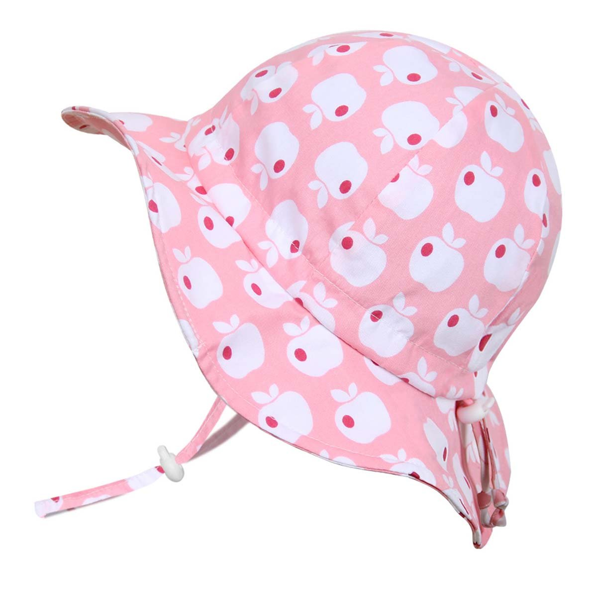Twinklebelle Children's Cotton Sun Protective Hats 50 UPF, Adjustable, Stay-On, Packable (L: 2-12Y, Floppy Hat: Pink Apple)